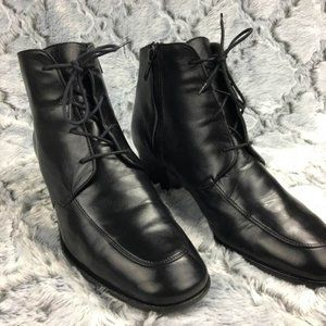 COLE HAAN Leather Lace Up + Zip Ankle Boots